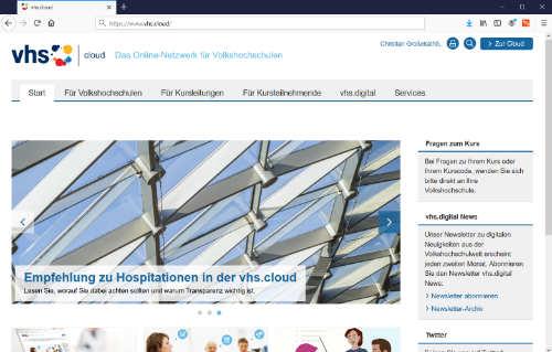 Screenshot vom vhs.cloud Portal